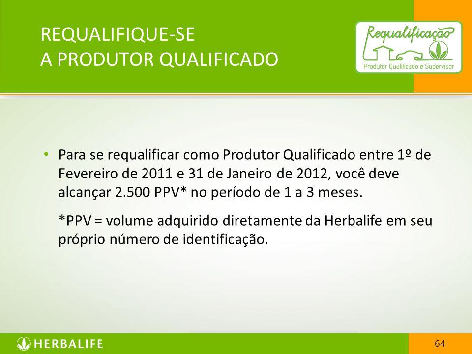 64 Para se requalificar como Produtor Qualificado entre 1º de Fevereiro de 2011 e 31 de Janeiro de 2012, você deve alcançar 2.500 PPV* no período de 1