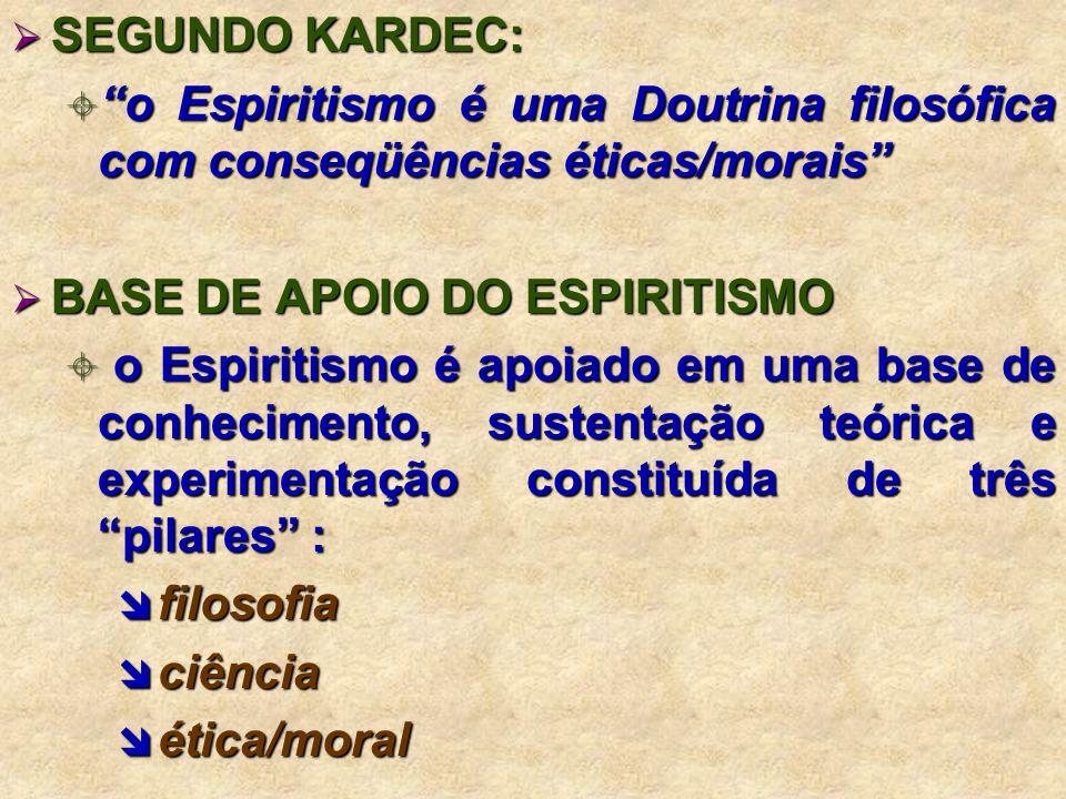 SEGUNDO KARDEC: SEGUNDO KARDEC: o Espiritismo é uma Doutrina filosófica com conseqüências éticas/morais o Espiritismo é uma Doutrina filosófica com conseqüências éticas/morais BASE DE APOIO DO ESPIRITISMO BASE DE APOIO DO ESPIRITISMO o Espiritismo é apoiado em uma base de conhecimento, sustentação teórica e experimentação constituída de três pilares : o Espiritismo é apoiado em uma base de conhecimento, sustentação teórica e experimentação constituída de três pilares : filosofia filosofia ciência ciência ética/moral ética/moral