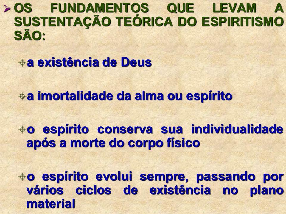 OS FUNDAMENTOS QUE LEVAM A SUSTENTAÇÃO TEÓRICA DO ESPIRITISMO SÃO: OS FUNDAMENTOS QUE LEVAM A SUSTENTAÇÃO TEÓRICA DO ESPIRITISMO SÃO: a existência de Deus a existência de Deus a imortalidade da alma ou espírito a imortalidade da alma ou espírito o espírito conserva sua individualidade após a morte do corpo físico o espírito conserva sua individualidade após a morte do corpo físico o espírito evolui sempre, passando por vários ciclos de existência no plano material o espírito evolui sempre, passando por vários ciclos de existência no plano material