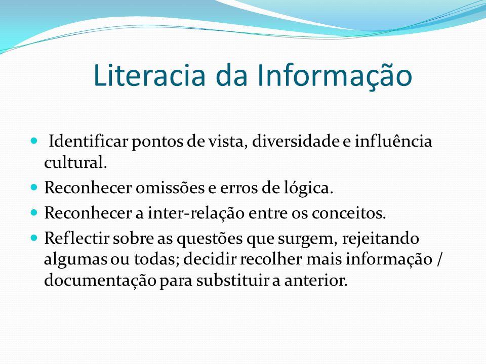 Literacia da Informação Identificar pontos de vista, diversidade e influência cultural. Reconhecer omissões e erros de lógica. Reconhecer a inter-rela