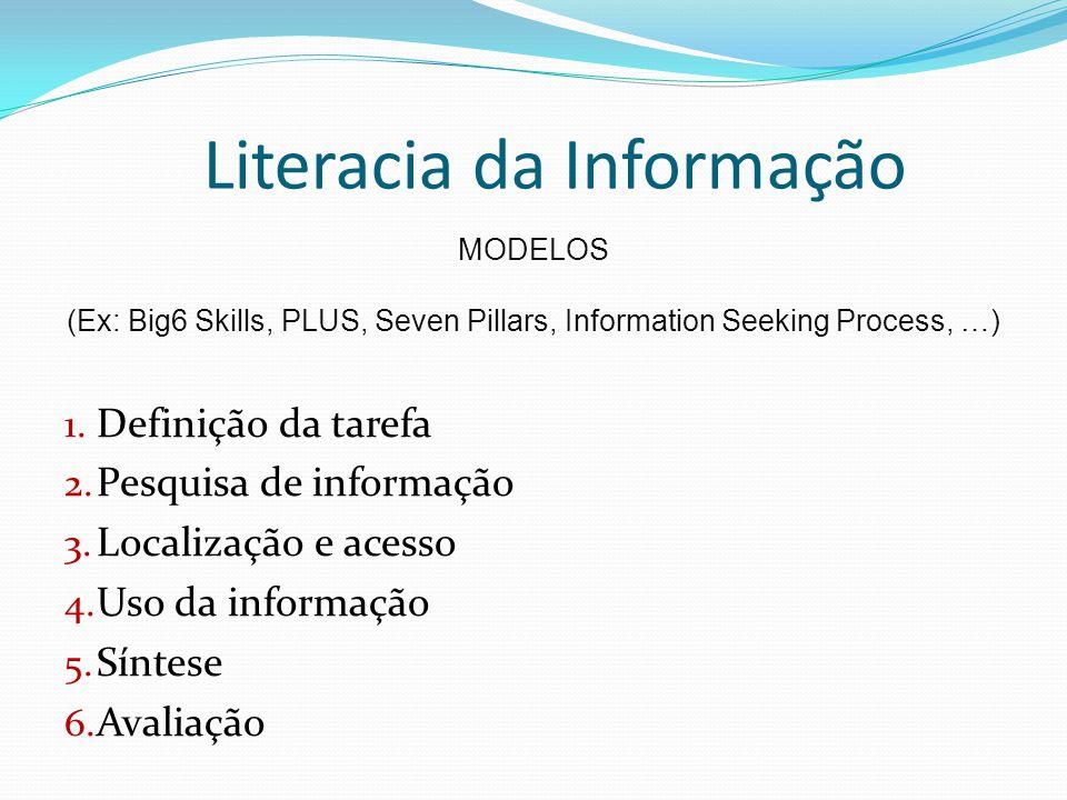 Literacia da Informação MODELOS (Ex: Big6 Skills, PLUS, Seven Pillars, Information Seeking Process, …) 1. Definição da tarefa 2. Pesquisa de informaçã