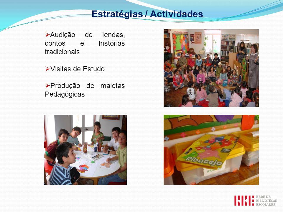 Estratégias / Actividades Audição de lendas, contos e histórias tradicionais Visitas de Estudo Produção de maletas Pedagógicas