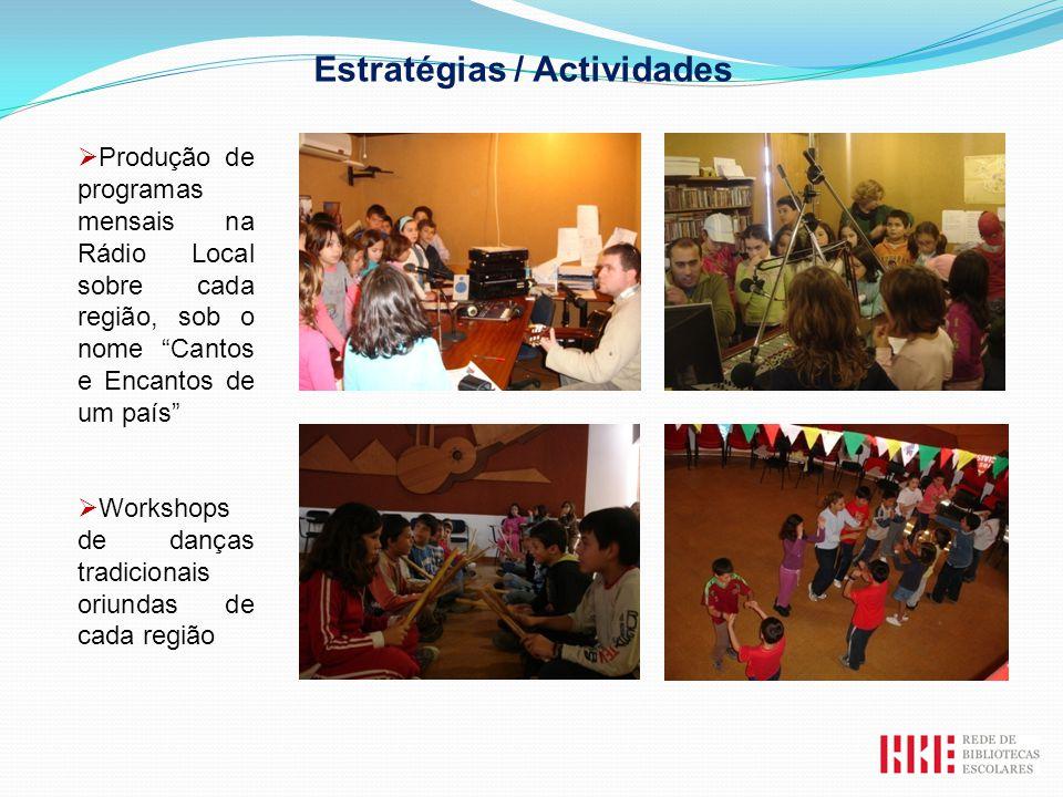 Produção de programas mensais na Rádio Local sobre cada região, sob o nome Cantos e Encantos de um país Workshops de danças tradicionais oriundas de c