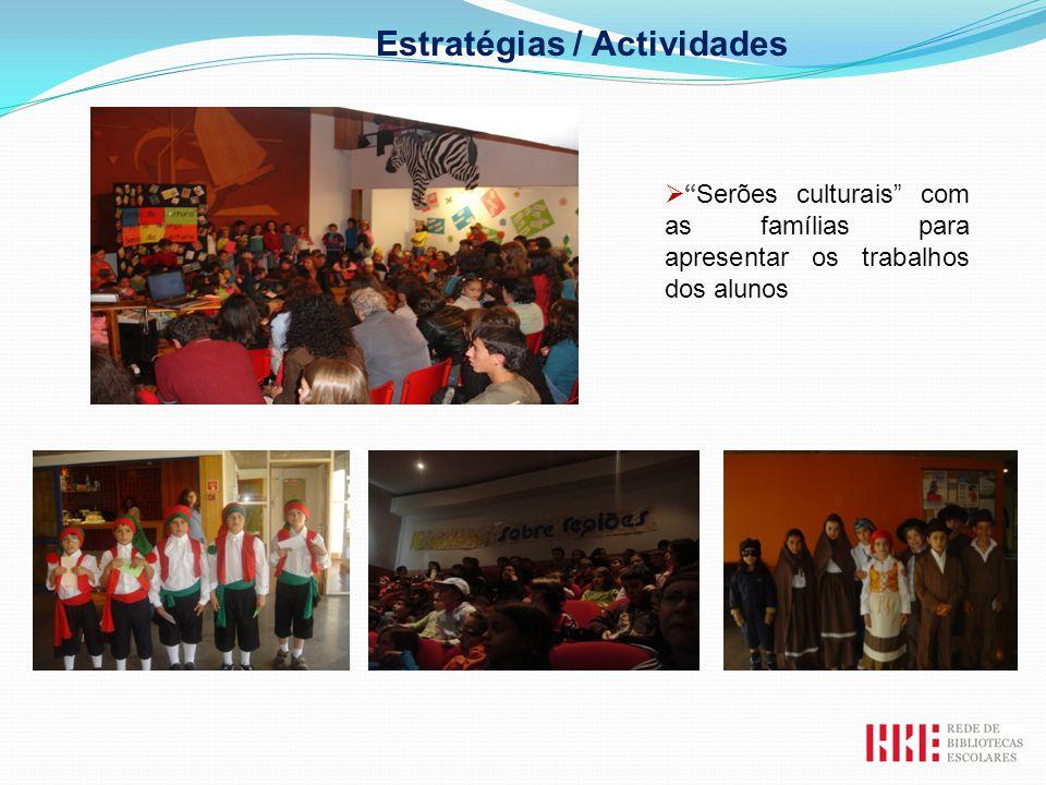 Serões culturais com as famílias para apresentar os trabalhos dos alunos Estratégias / Actividades