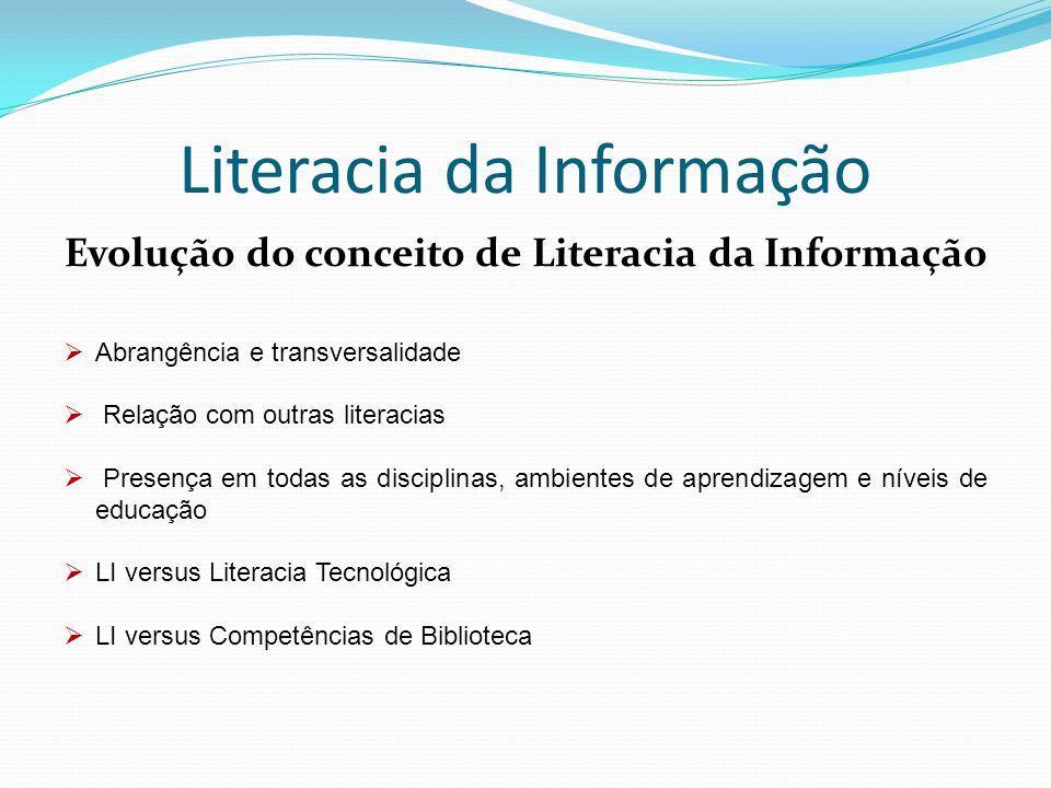 Literacia da Informação Foco no utilizador Competência processual chave para transformar informação em conhecimento Mobilização de competências: - de biblioteca - tecnológicas - de informação - de pensamento crítico Valores éticos e atitudes Aprendizagem ao longo da vida