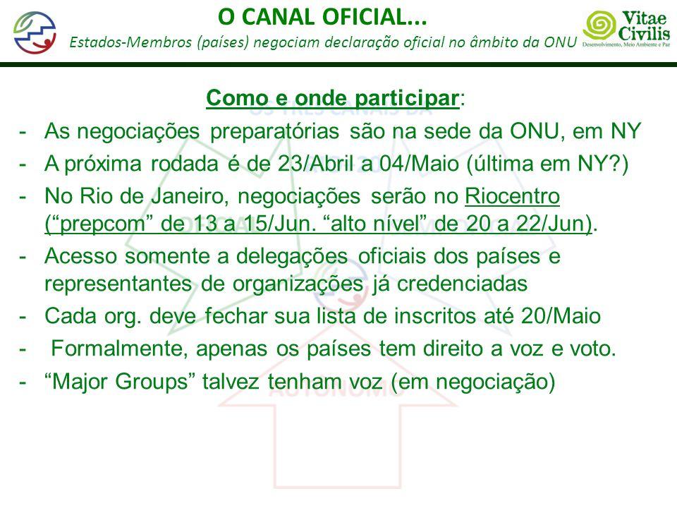 O CANAL OFICIAL... Estados-Membros (países) negociam declaração oficial no âmbito da ONU Como e onde participar: -As negociações preparatórias são na