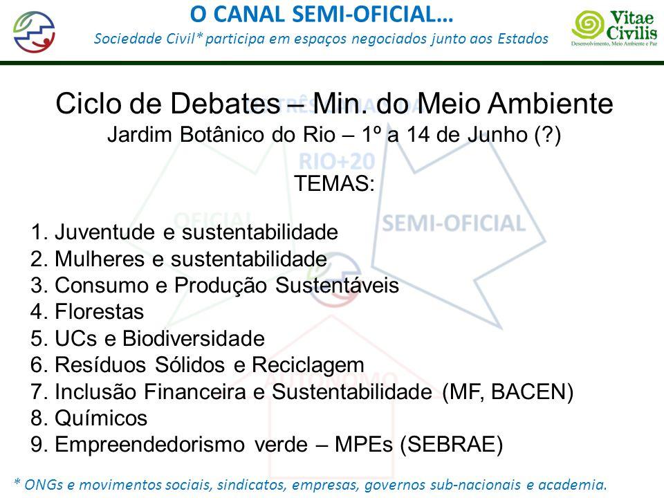 O CANAL SEMI-OFICIAL… Sociedade Civil* participa em espaços negociados junto aos Estados * ONGs e movimentos sociais, sindicatos, empresas, governos s