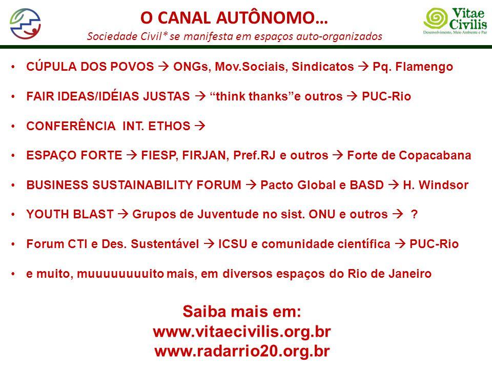 O CANAL AUTÔNOMO… Sociedade Civil* se manifesta em espaços auto-organizados CÚPULA DOS POVOS ONGs, Mov.Sociais, Sindicatos Pq. Flamengo FAIR IDEAS/IDÉ