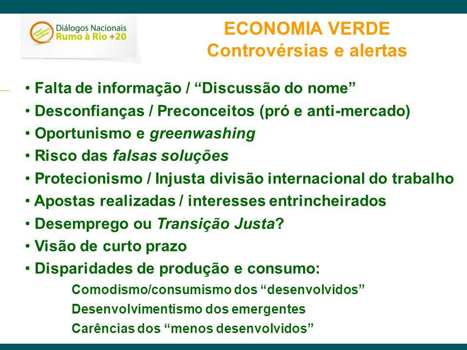 ECONOMIA VERDE Controvérsias e alertas Falta de informação / Discussão do nome Desconfianças / Preconceitos (pró e anti-mercado) Oportunismo e greenwa