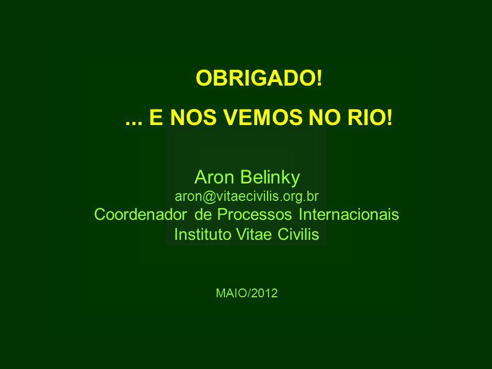 OBRIGADO!... E NOS VEMOS NO RIO! Aron Belinky aron@vitaecivilis.org.br Coordenador de Processos Internacionais Instituto Vitae Civilis MAIO/2012