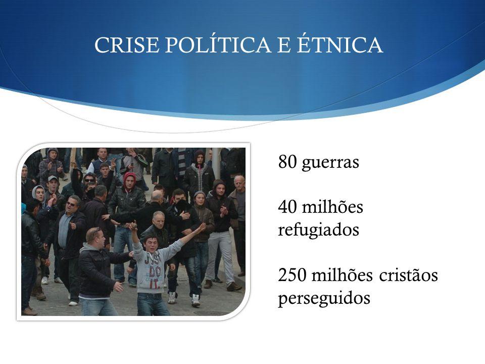 80 guerras 40 milhões refugiados 250 milhões cristãos perseguidos CRISE POLÍTICA E ÉTNICA