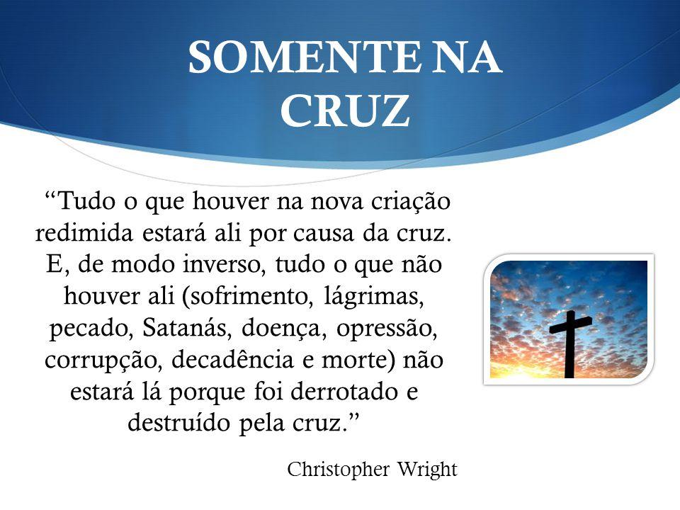 Tudo o que houver na nova criação redimida estará ali por causa da cruz. E, de modo inverso, tudo o que não houver ali (sofrimento, lágrimas, pecado,