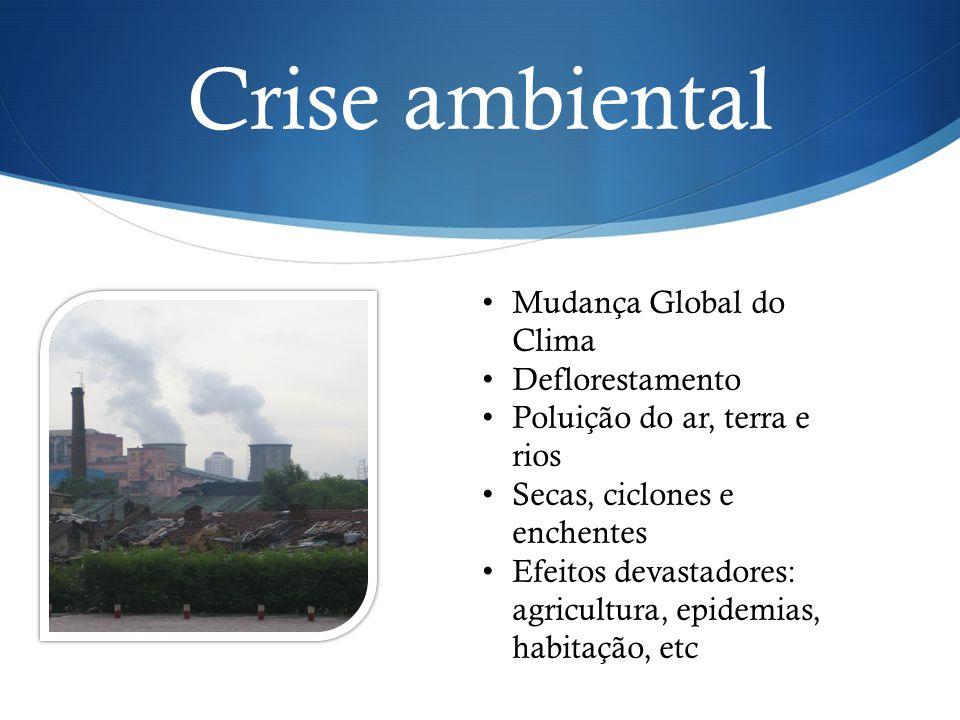 Mudança Global do Clima Deflorestamento Poluição do ar, terra e rios Secas, ciclones e enchentes Efeitos devastadores: agricultura, epidemias, habitaç