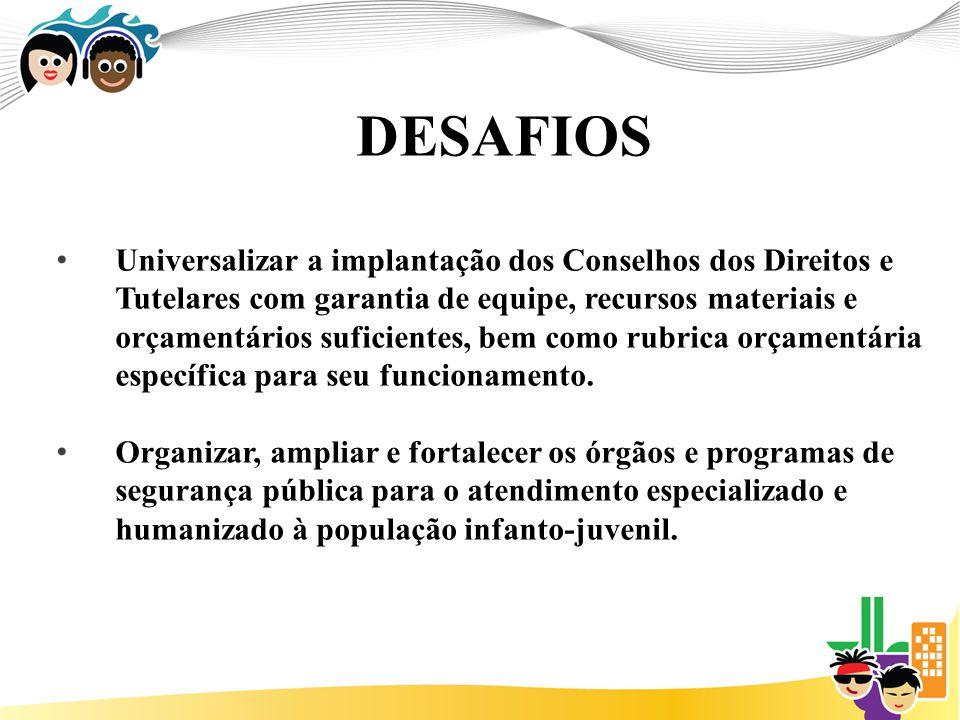 DESAFIOS Universalizar a implantação dos Conselhos dos Direitos e Tutelares com garantia de equipe, recursos materiais e orçamentários suficientes, bem como rubrica orçamentária específica para seu funcionamento.
