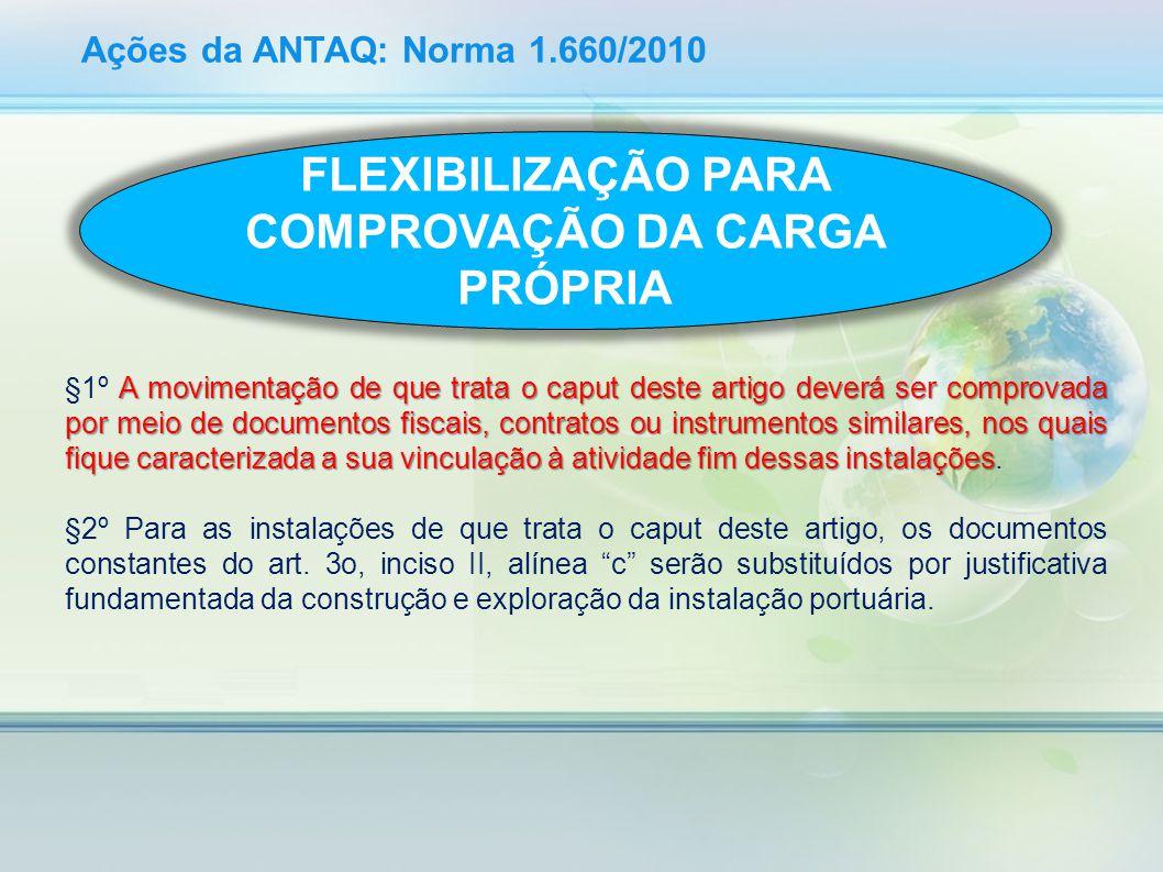 Ações da ANTAQ: Norma 1.660/2010 A movimentação de que trata o caput deste artigo deverá ser comprovada por meio de documentos fiscais, contratos ou i