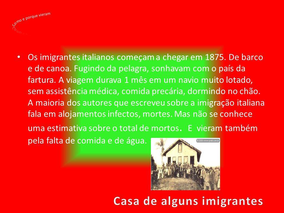 Os imigrantes italianos começam a chegar em 1875. De barco e de canoa. Fugindo da pelagra, sonhavam com o país da fartura. A viagem durava 1 mês em um