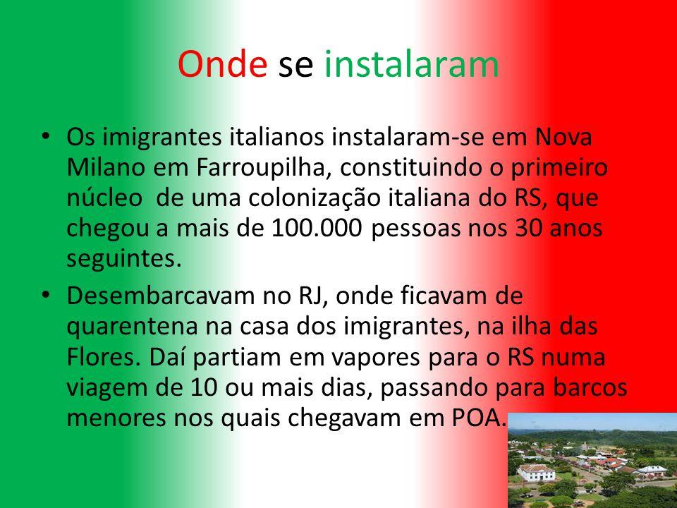Onde se instalaram Os imigrantes italianos instalaram-se em Nova Milano em Farroupilha, constituindo o primeiro núcleo de uma colonização italiana do