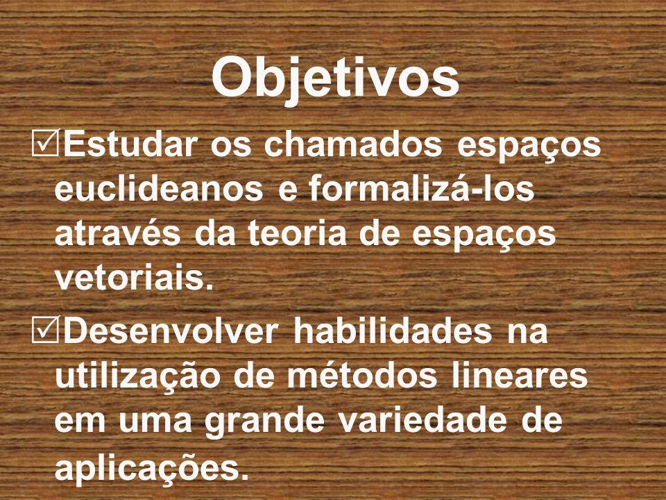 Objetivos Estudar os chamados espaços euclideanos e formalizá-los através da teoria de espaços vetoriais. Desenvolver habilidades na utilização de mét