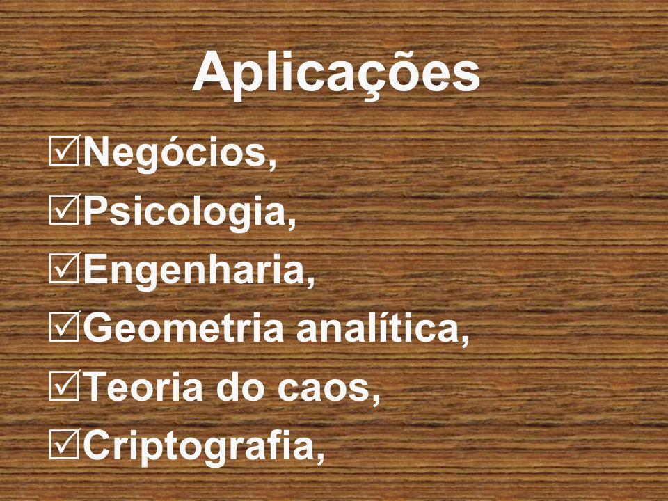 Aplicações Negócios, Psicologia, Engenharia, Geometria analítica, Teoria do caos, Criptografia,