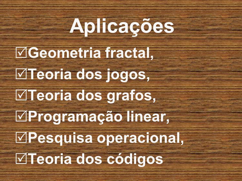Aplicações Geometria fractal, Teoria dos jogos, Teoria dos grafos, Programação linear, Pesquisa operacional, Teoria dos códigos