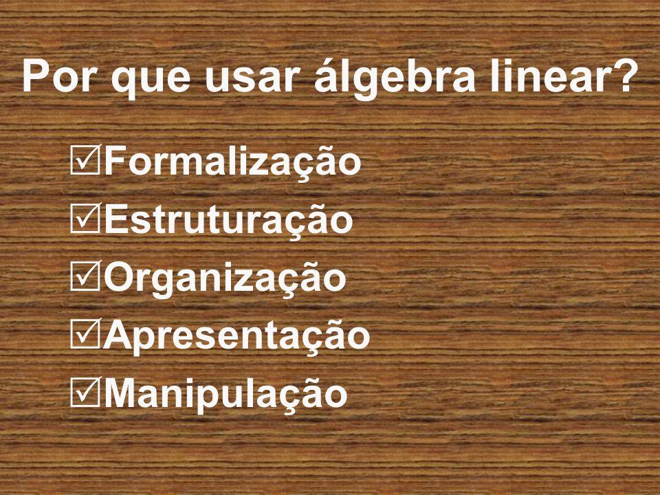 Por que usar álgebra linear? Formalização Estruturação Organização Apresentação Manipulação
