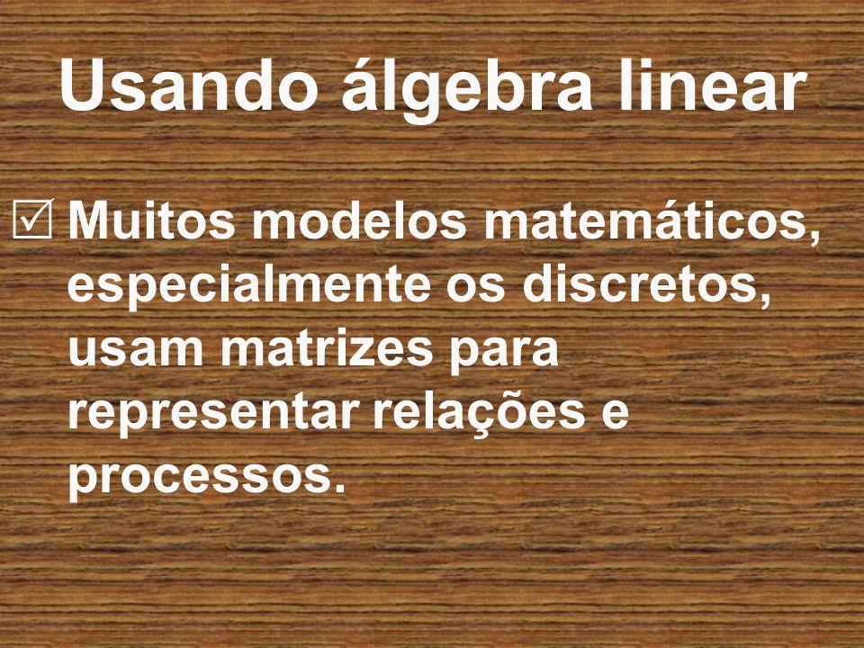Muitos modelos matemáticos, especialmente os discretos, usam matrizes para representar relações e processos. Usando álgebra linear