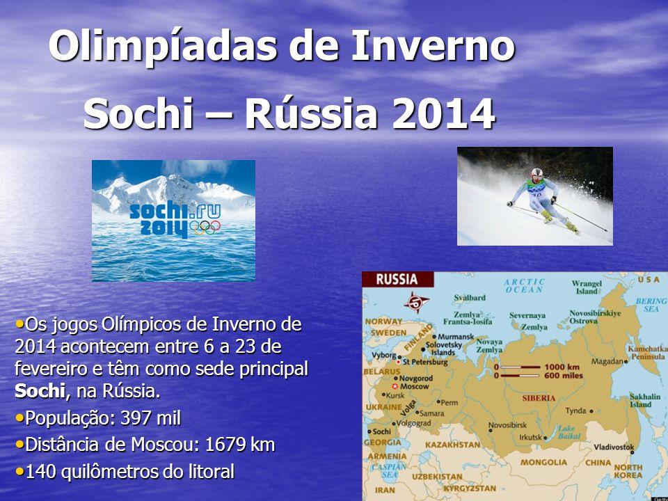Olimpíadas de Inverno Os jogos Olímpicos de Inverno de 2014 acontecem entre 6 a 23 de fevereiro e têm como sede principal Sochi, na Rússia. Os jogos O