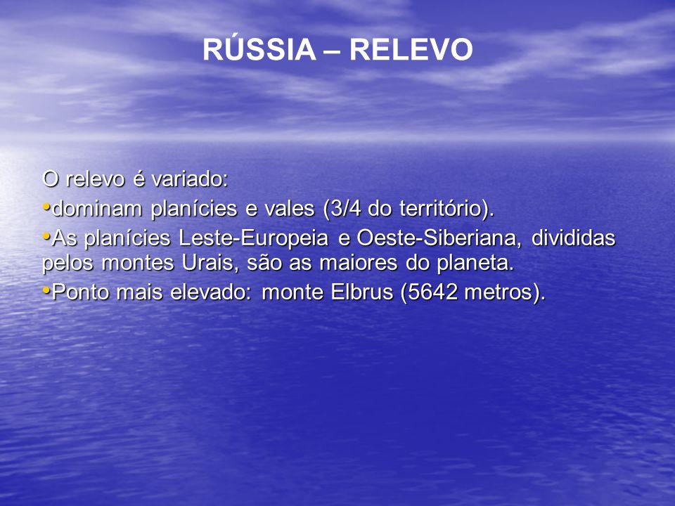 RÚSSIA – RELEVO O relevo é variado: dominam planícies e vales (3/4 do território). dominam planícies e vales (3/4 do território). As planícies Leste-E
