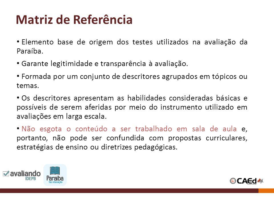 Matriz de Referência Elemento base de origem dos testes utilizados na avaliação da Paraíba. Garante legitimidade e transparência à avaliação. Formada