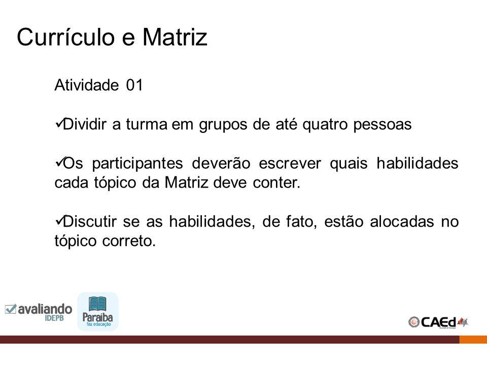 Atividade 01 Dividir a turma em grupos de até quatro pessoas Os participantes deverão escrever quais habilidades cada tópico da Matriz deve conter. Di