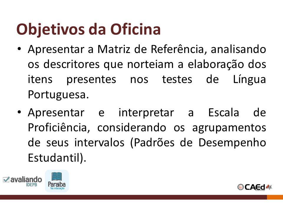 Objetivos da Oficina Apresentar a Matriz de Referência, analisando os descritores que norteiam a elaboração dos itens presentes nos testes de Língua P