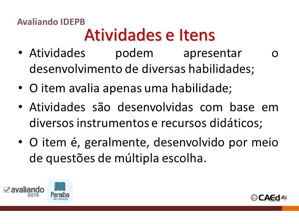 Atividades e Itens Avaliando IDEPB Atividades podem apresentar o desenvolvimento de diversas habilidades; O item avalia apenas uma habilidade; Ativida