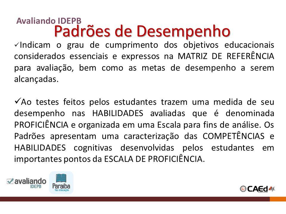 Padrões de Desempenho Avaliando IDEPB Indicam o grau de cumprimento dos objetivos educacionais considerados essenciais e expressos na MATRIZ DE REFERÊ