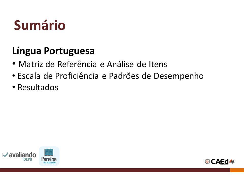 Sumário Língua Portuguesa Matriz de Referência e Análise de Itens Escala de Proficiência e Padrões de Desempenho Resultados