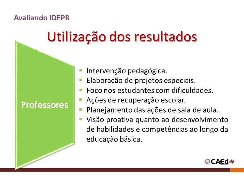 Utilização dos resultados Avaliando IDEPB Professores Intervenção pedagógica. Elaboração de projetos especiais. Foco nos estudantes com dificuldades.