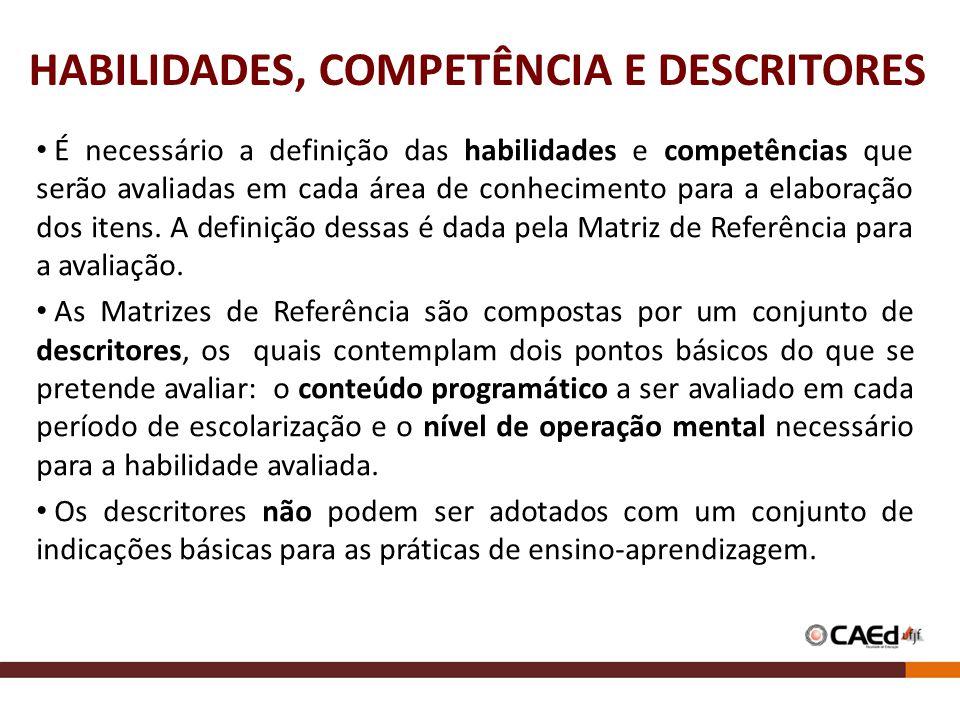 HABILIDADES, COMPETÊNCIA E DESCRITORES É necessário a definição das habilidades e competências que serão avaliadas em cada área de conhecimento para a