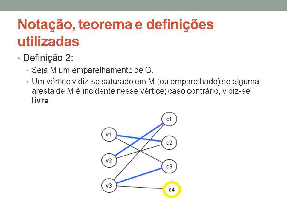 Definição 2: Seja M um emparelhamento de G. Um vértice v diz-se saturado em M (ou emparelhado) se alguma aresta de M é incidente nesse vértice; caso c