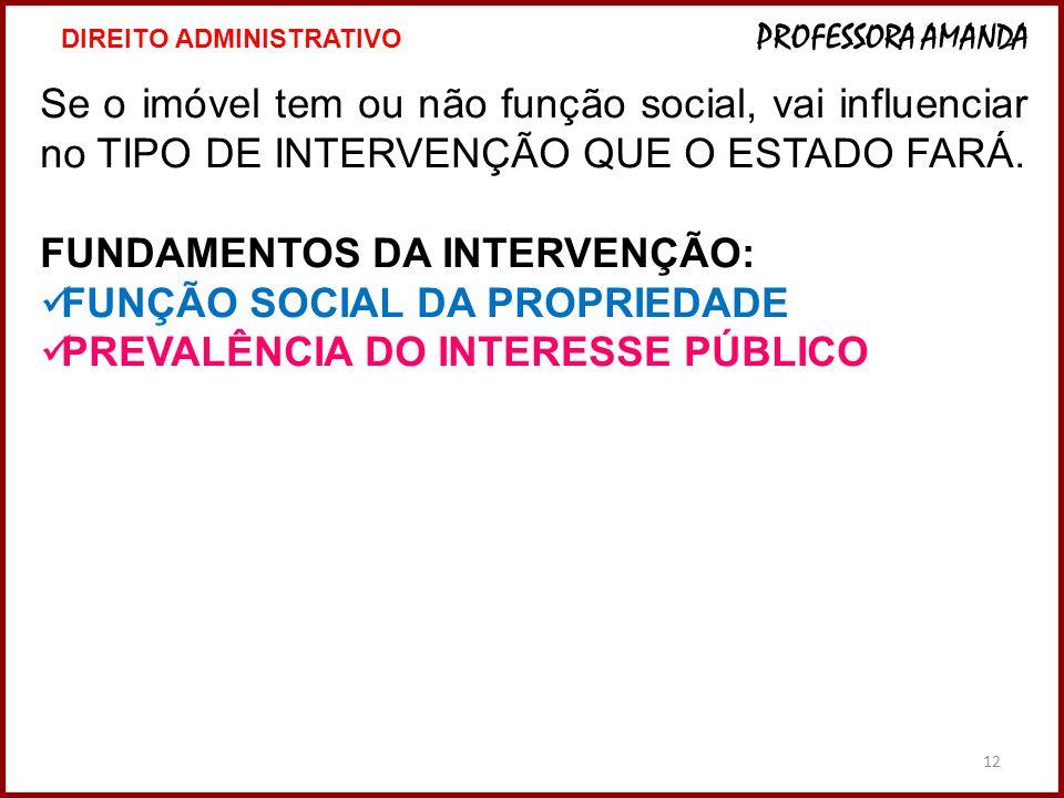 12 Se o imóvel tem ou não função social, vai influenciar no TIPO DE INTERVENÇÃO QUE O ESTADO FARÁ.