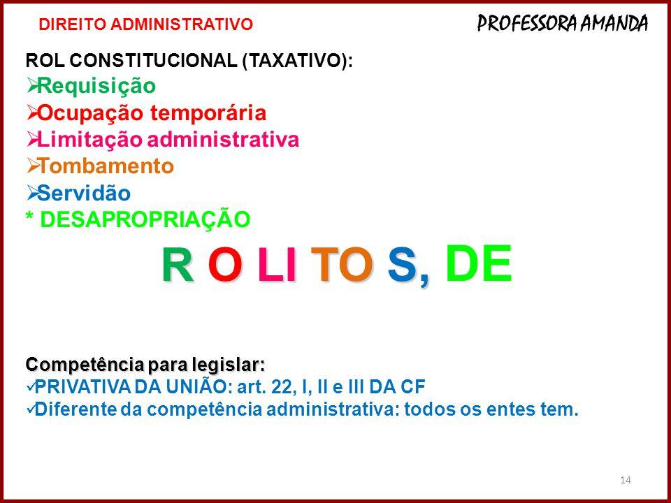 14 ROL CONSTITUCIONAL (TAXATIVO): Requisição Ocupação temporária Limitação administrativa Tombamento Servidão * DESAPROPRIAÇÃO R O LI TO S, R O LI TO S, DE Competência para legislar: PRIVATIVA DA UNIÃO: art.