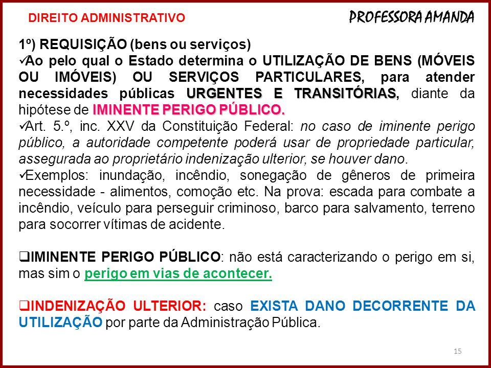 15 1º) REQUISIÇÃO (bens ou serviços) URGENTES E TRANSITÓRIAS IMINENTE PERIGO PÚBLICO.