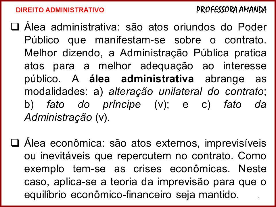 3 Álea administrativa: são atos oriundos do Poder Público que manifestam-se sobre o contrato.