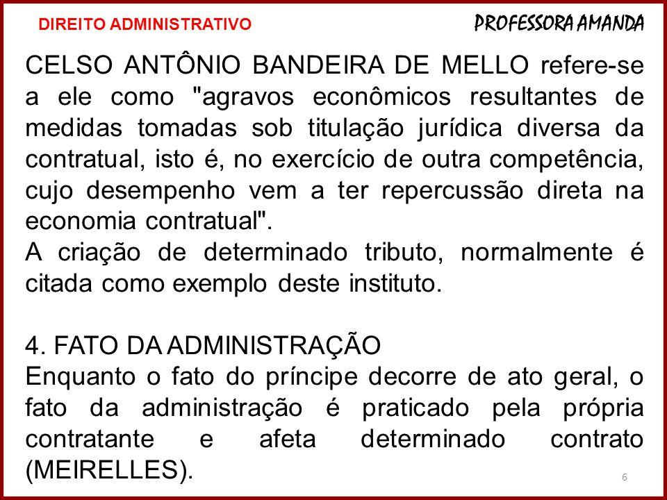 6 CELSO ANTÔNIO BANDEIRA DE MELLO refere-se a ele como agravos econômicos resultantes de medidas tomadas sob titulação jurídica diversa da contratual, isto é, no exercício de outra competência, cujo desempenho vem a ter repercussão direta na economia contratual .