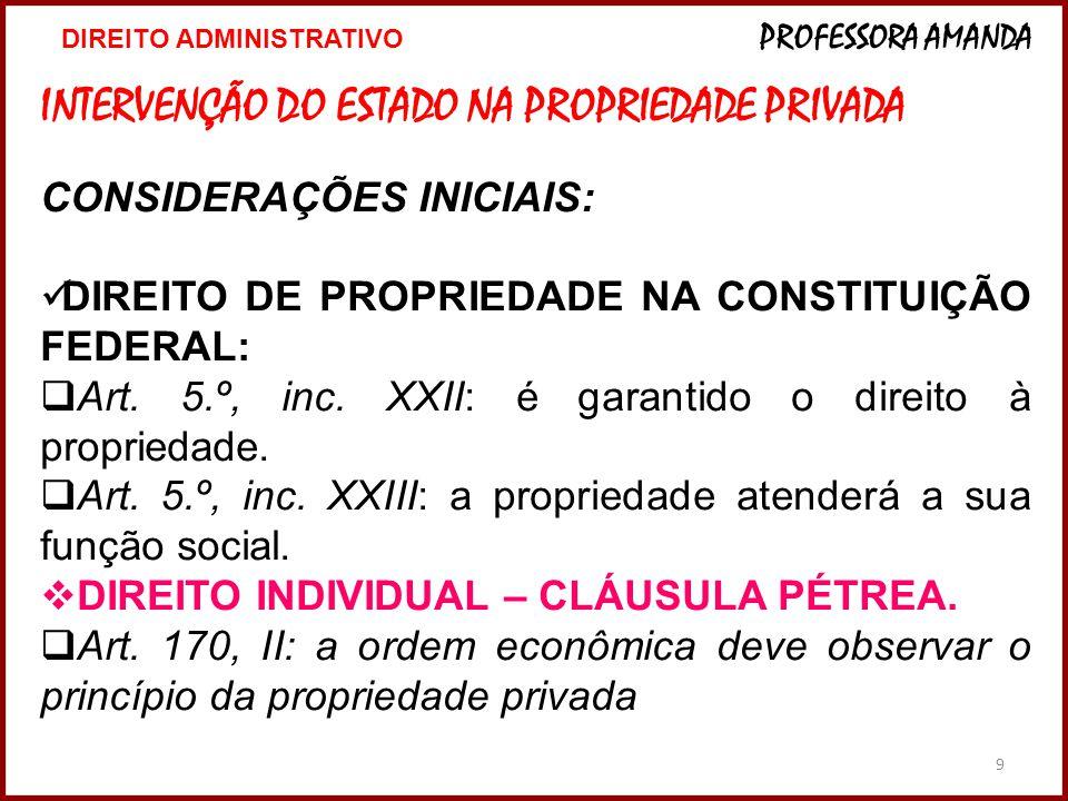9 INTERVENÇÃO DO ESTADO NA PROPRIEDADE PRIVADA CONSIDERAÇÕES INICIAIS: DIREITO DE PROPRIEDADE NA CONSTITUIÇÃO FEDERAL: Art.