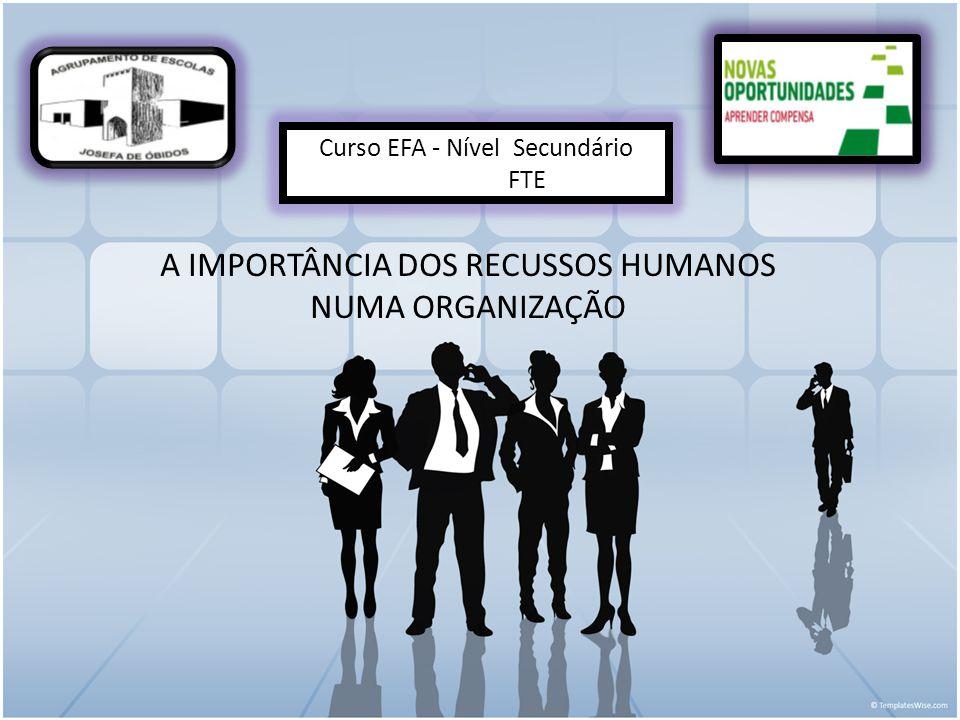 A IMPORTÂNCIA DOS RECUSSOS HUMANOS NUMA ORGANIZAÇÃO Curso EFA - Nível Secundário FTE