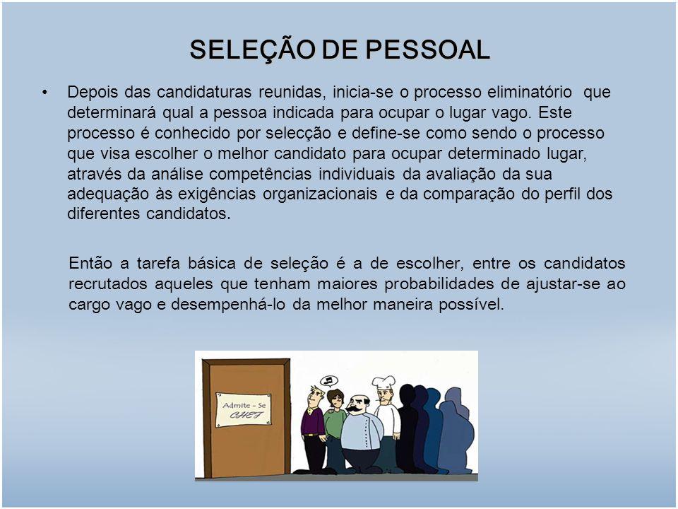 SELEÇÃO DE PESSOAL Depois das candidaturas reunidas, inicia-se o processo eliminatório que determinará qual a pessoa indicada para ocupar o lugar vago.
