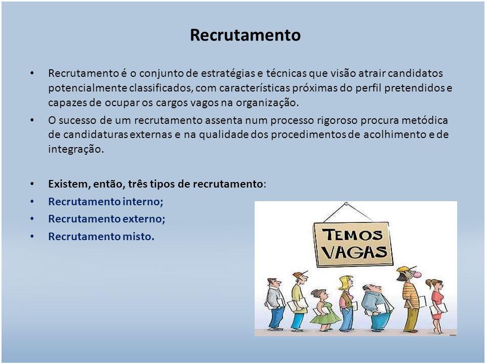 Recrutamento Recrutamento é o conjunto de estratégias e técnicas que visão atrair candidatos potencialmente classificados, com características próximas do perfil pretendidos e capazes de ocupar os cargos vagos na organização.