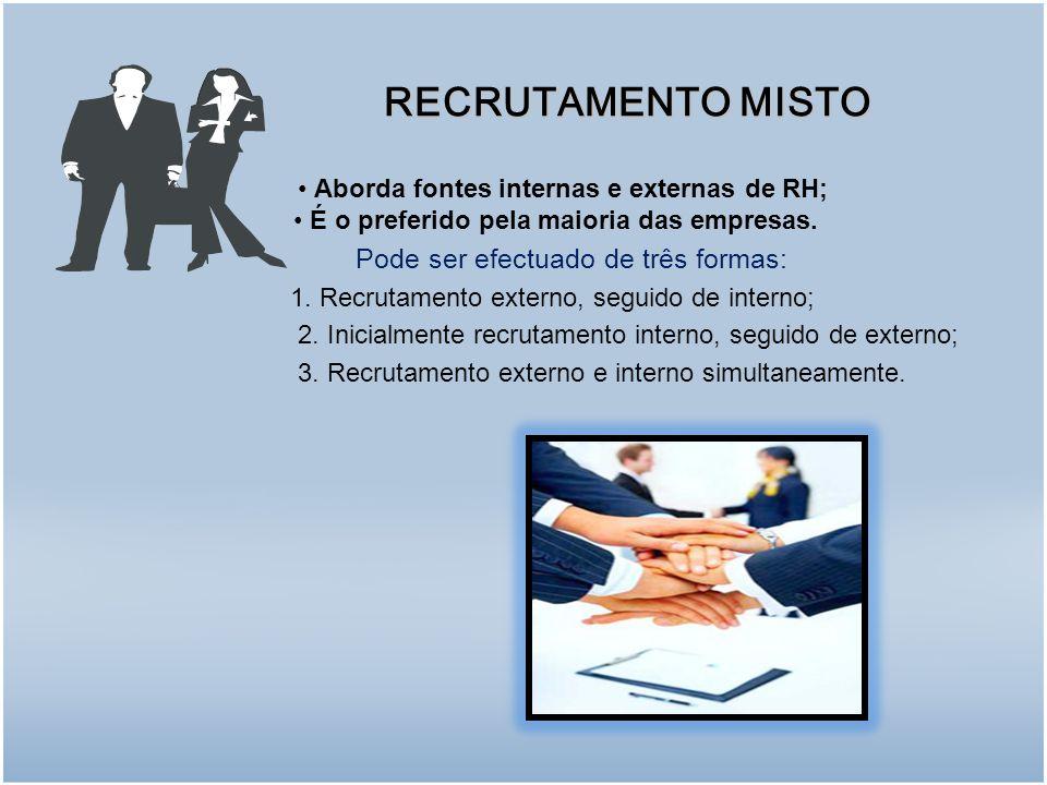 Aborda fontes internas e externas de RH; É o preferido pela maioria das empresas.