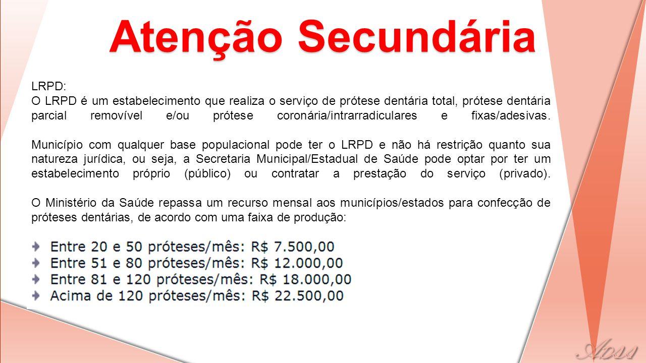 PNSB Atenção Primária UBS ESF Secundária CEO LRPD Terciária Assistência Hospitalar