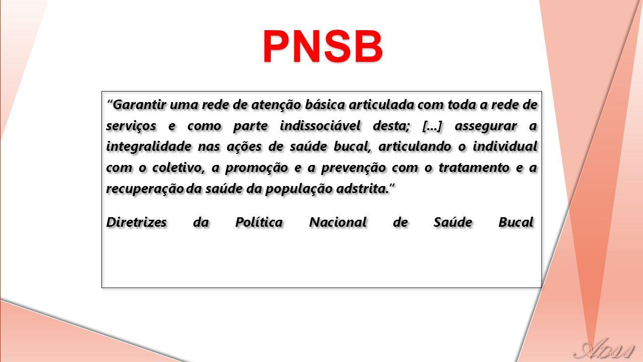 PNSB BRASIL SORRIDENTE Diretrizes do Ministério da Saúde para a reorganização da atenção à saúde bucal em todos os níveis de atenção.