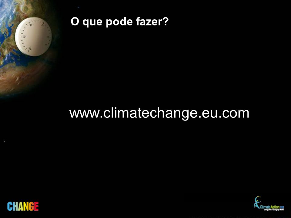 O que pode fazer? www.climatechange.eu.com